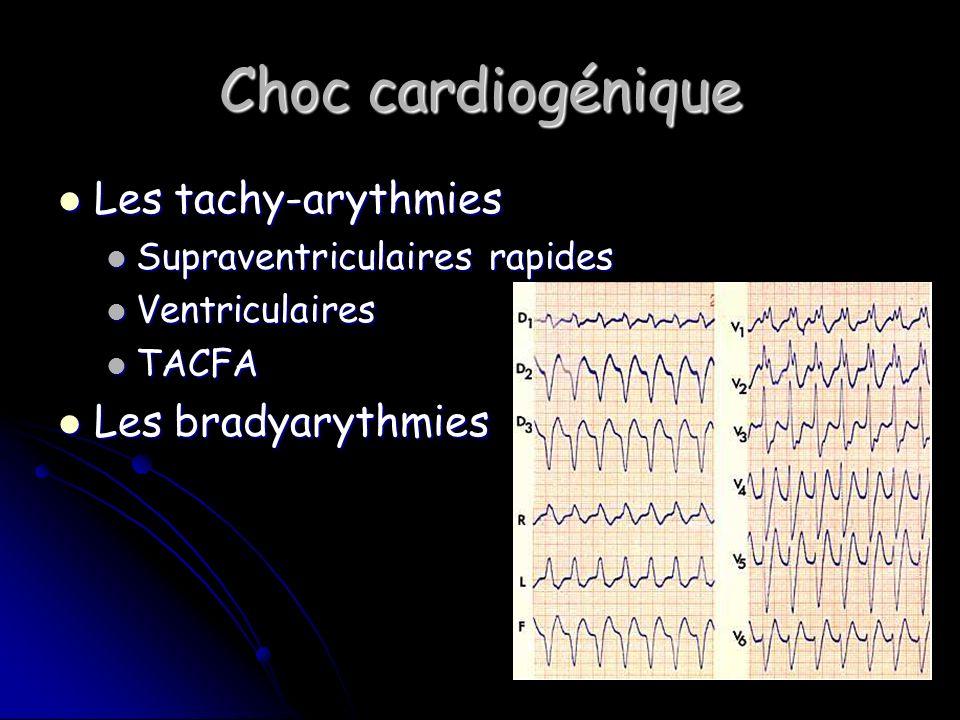 Choc cardiogénique Les tachy-arythmies Les tachy-arythmies Supraventriculaires rapides Supraventriculaires rapides Ventriculaires Ventriculaires TACFA TACFA Les bradyarythmies Les bradyarythmies