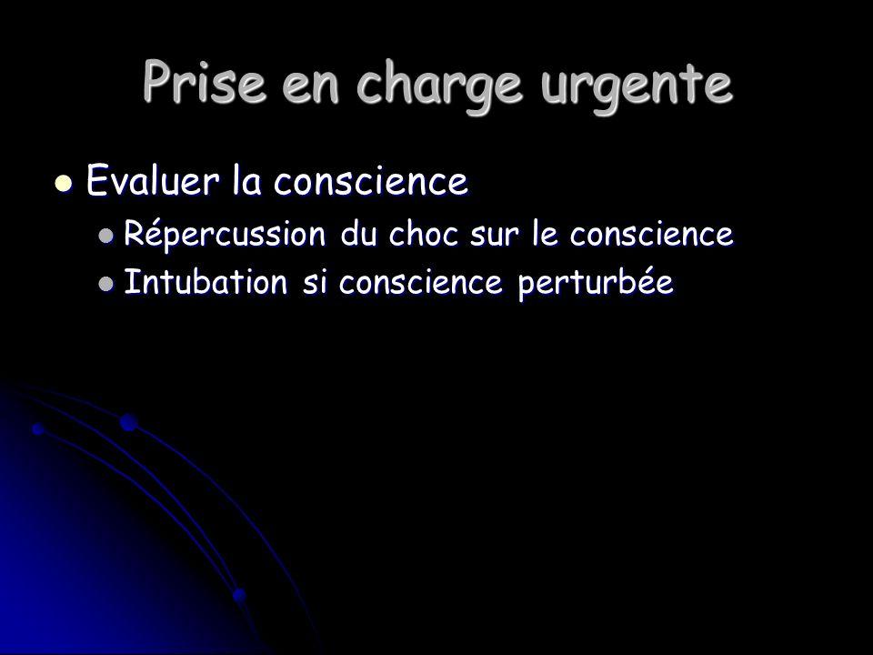 Prise en charge urgente Evaluer la conscience Evaluer la conscience Répercussion du choc sur le conscience Répercussion du choc sur le conscience Intubation si conscience perturbée Intubation si conscience perturbée