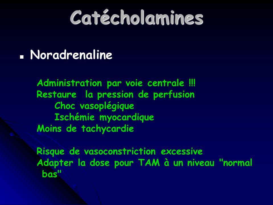 Catécholamines n Noradrenaline Administration par voie centrale !!.