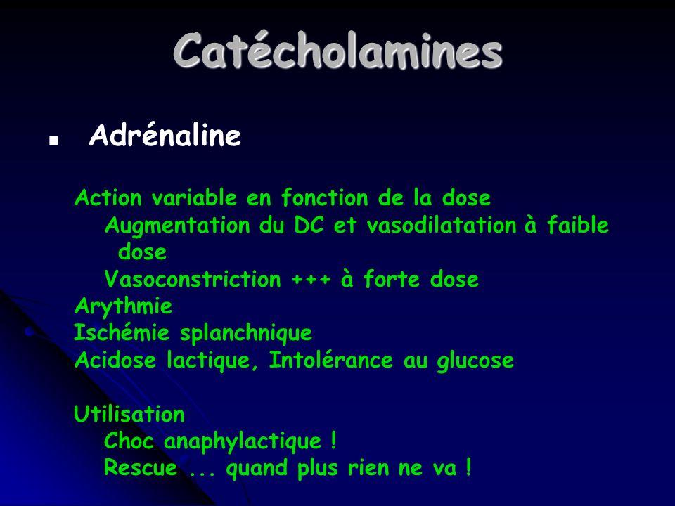 Catécholamines n Adrénaline Action variable en fonction de la dose Augmentation du DC et vasodilatation à faible dose Vasoconstriction +++ à forte dose Arythmie Ischémie splanchnique Acidose lactique, Intolérance au glucose Utilisation Choc anaphylactique .