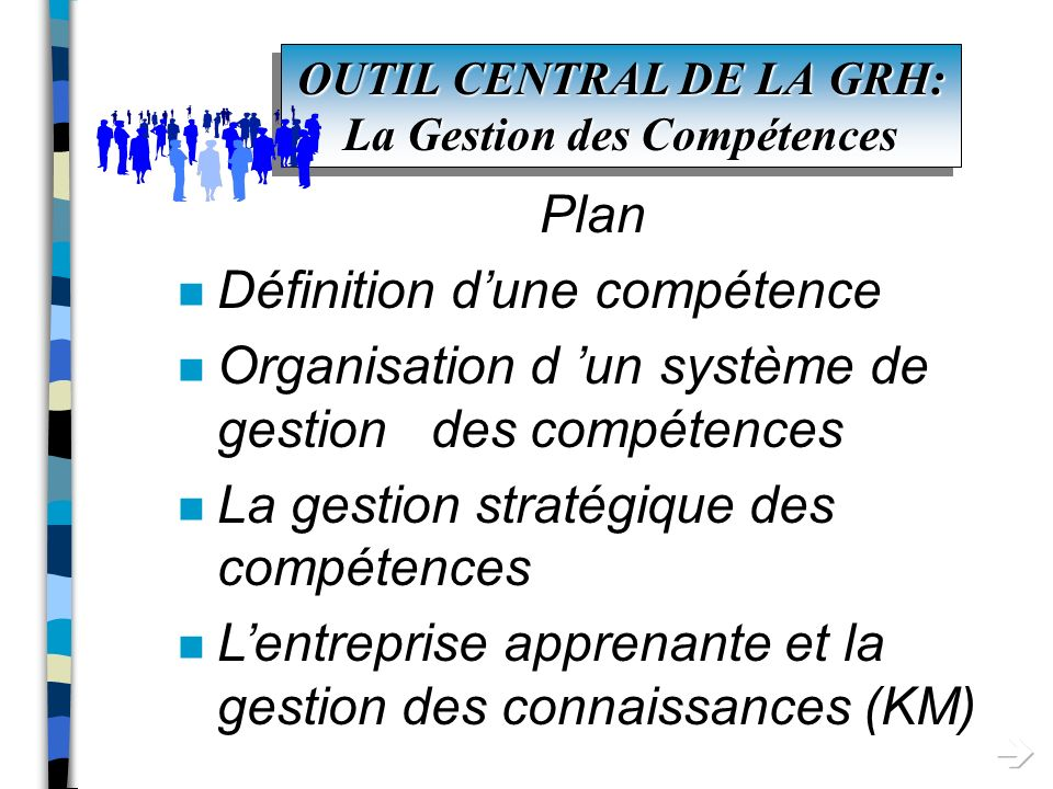 OUTIL CENTRAL DE LA GRH: La Gestion des Compétences Plan n Définition dune compétence n Organisation d un système de gestion des compétences n La gestion stratégique des compétences n La gestion des connaissances (KM)