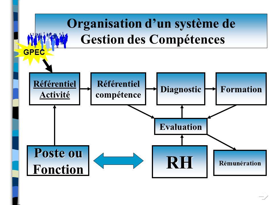 Organisation dun système de Gestion des Compétences Poste Fonction RH Référentiel Activité DiagnosticFormation Evaluation Référentiel compétence Rémunération
