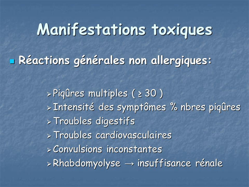 Manifestations toxiques Réactions générales non allergiques: Réactions générales non allergiques: Piqûres multiples ( 30 ) Piqûres multiples ( 30 ) In