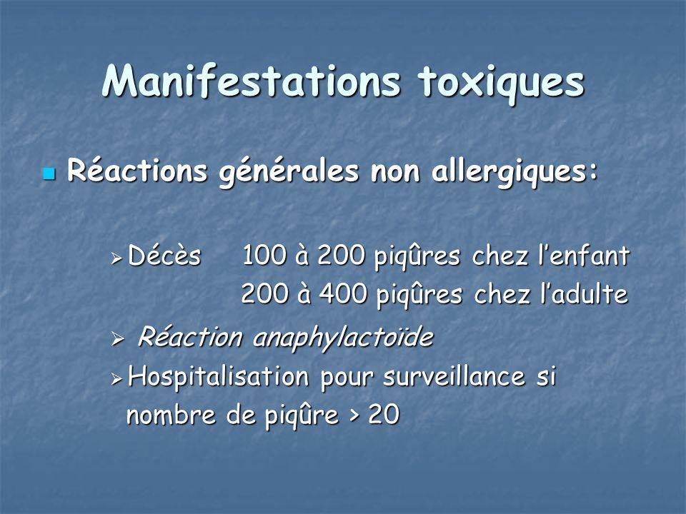 Manifestations toxiques Réactions générales non allergiques: Réactions générales non allergiques: Décès 100 à 200 piqûres chez lenfant Décès 100 à 200