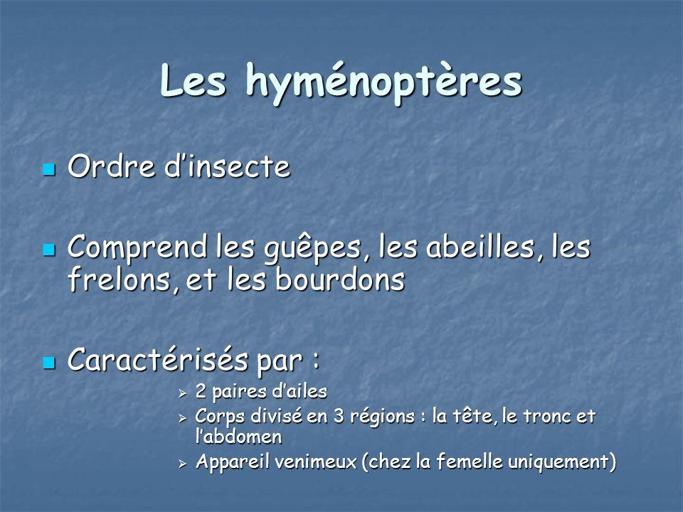 Les hyménoptères Ordre dinsecte Ordre dinsecte Comprend les guêpes, les abeilles, les frelons, et les bourdons Comprend les guêpes, les abeilles, les
