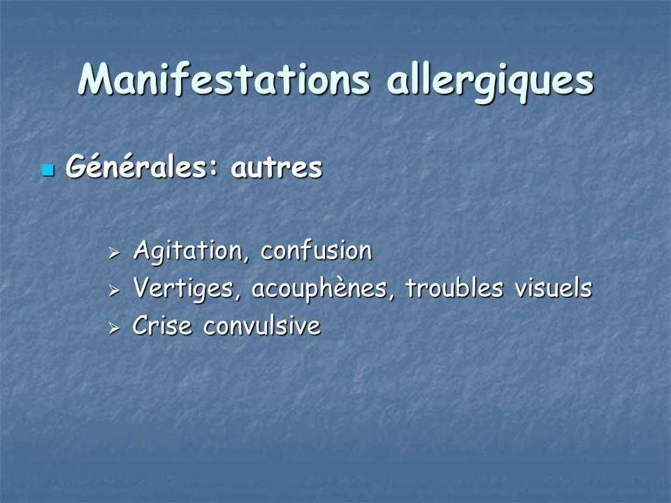 Manifestations allergiques Générales: autres Générales: autres Agitation, confusion Agitation, confusion Vertiges, acouphènes, troubles visuels Vertig