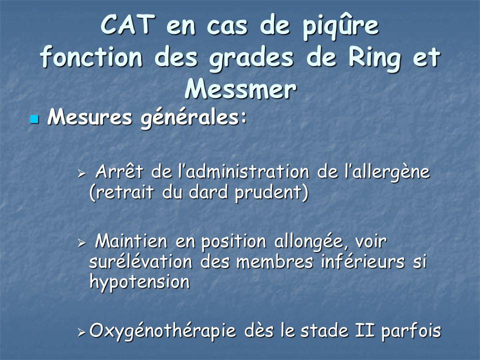 CAT en cas de piqûre fonction des grades de Ring et Messmer Mesures générales: Mesures générales: Arrêt de ladministration de lallergène (retrait du d