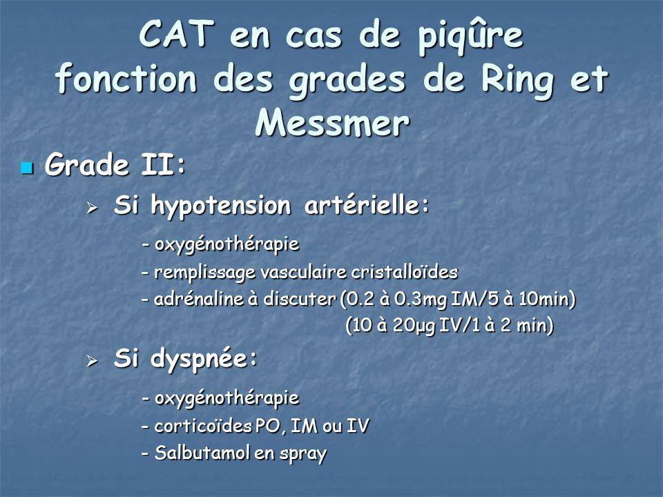 CAT en cas de piqûre fonction des grades de Ring et Messmer Grade II: Grade II: Si hypotension artérielle: Si hypotension artérielle: - oxygénothérapie - oxygénothérapie - remplissage vasculaire cristalloïdes - remplissage vasculaire cristalloïdes - adrénaline à discuter (0.2 à 0.3mg IM/5 à 10min) - adrénaline à discuter (0.2 à 0.3mg IM/5 à 10min) (10 à 20μg IV/1 à 2 min) (10 à 20μg IV/1 à 2 min) Si dyspnée: Si dyspnée: - oxygénothérapie - oxygénothérapie - corticoïdes PO, IM ou IV - corticoïdes PO, IM ou IV - Salbutamol en spray - Salbutamol en spray