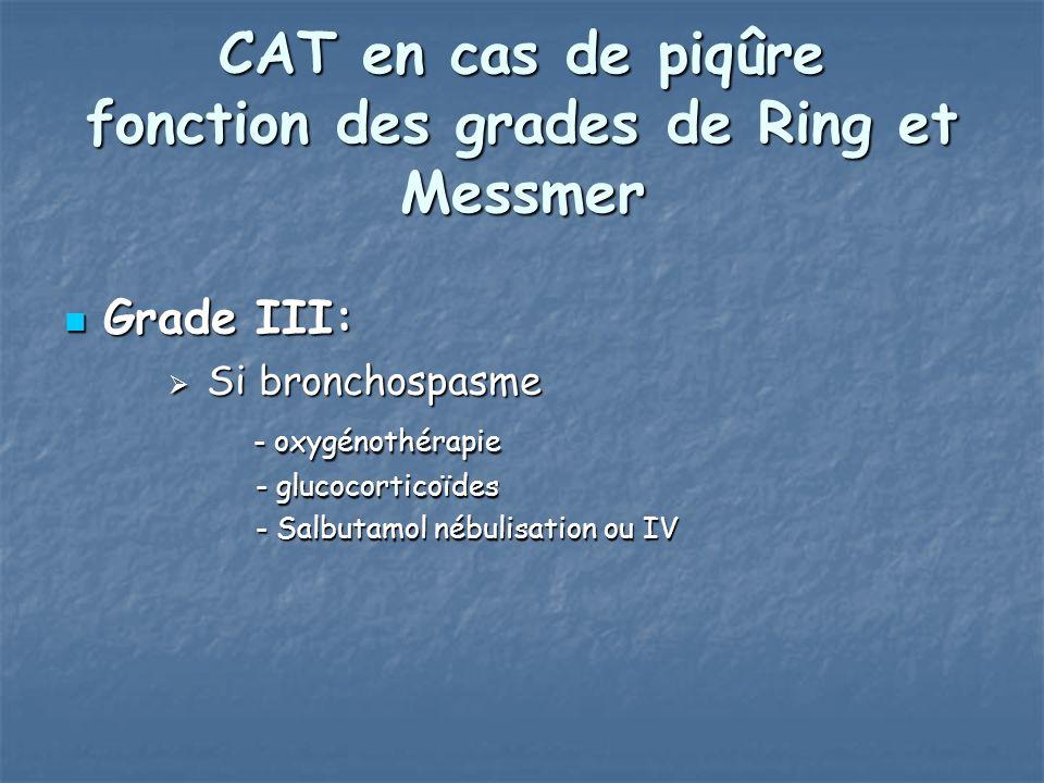 CAT en cas de piqûre fonction des grades de Ring et Messmer Grade III: Grade III: Si bronchospasme Si bronchospasme - oxygénothérapie - oxygénothérapie - glucocorticoïdes - glucocorticoïdes - Salbutamol nébulisation ou IV - Salbutamol nébulisation ou IV