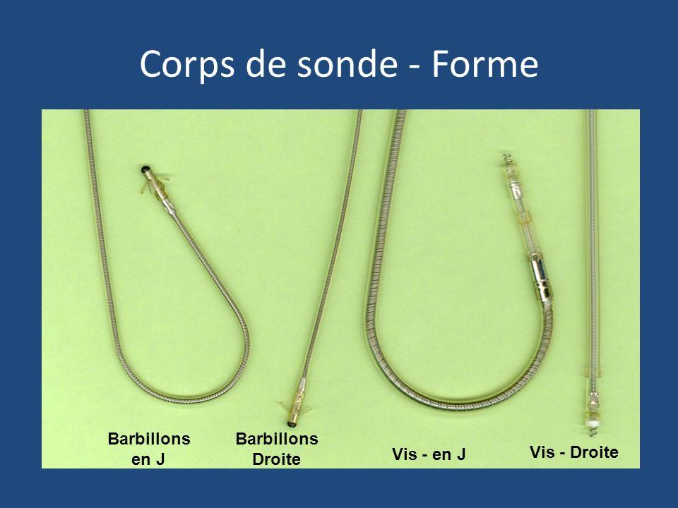 Corps de sonde - Forme Barbillons en J Barbillons Droite Vis - Droite Vis - en J