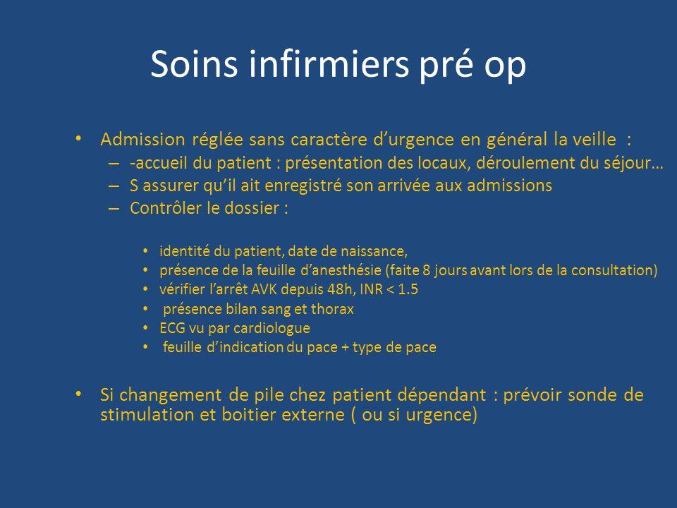 Soins infirmiers pré op Admission réglée sans caractère durgence en général la veille : – -accueil du patient : présentation des locaux, déroulement d