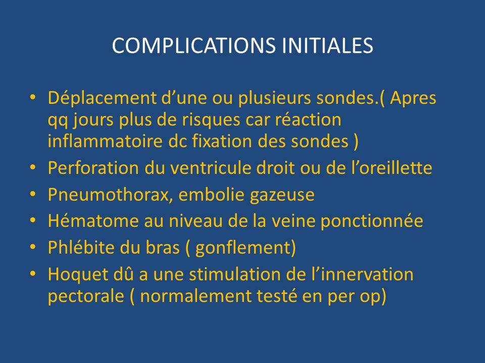 COMPLICATIONS INITIALES Déplacement dune ou plusieurs sondes.( Apres qq jours plus de risques car réaction inflammatoire dc fixation des sondes ) Perf
