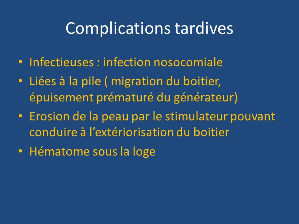 Complications tardives Infectieuses : infection nosocomiale Liées à la pile ( migration du boitier, épuisement prématuré du générateur) Erosion de la
