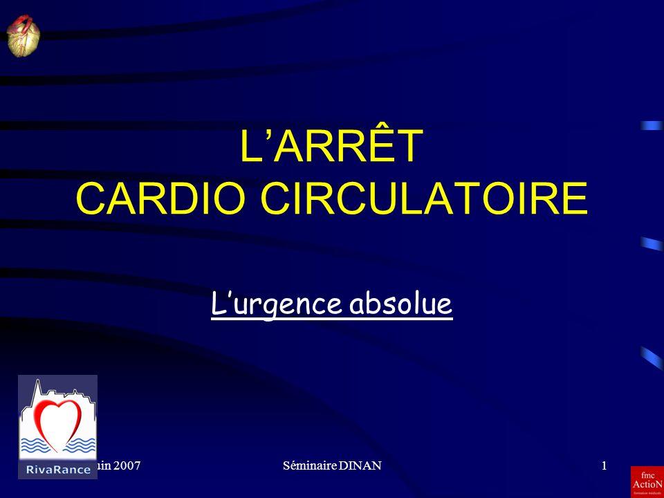 8 et 9 Juin 2007Séminaire DINAN12 Causes et mécanismes des ACR 4 principaux mécanismes : –lasystolie –la fibrillation ventriculaire –les tachycardies et bradycardies extrêmes –la dissociation électromécanique 3 grandes causes : –cardiaque –respiratoire –accidentelle