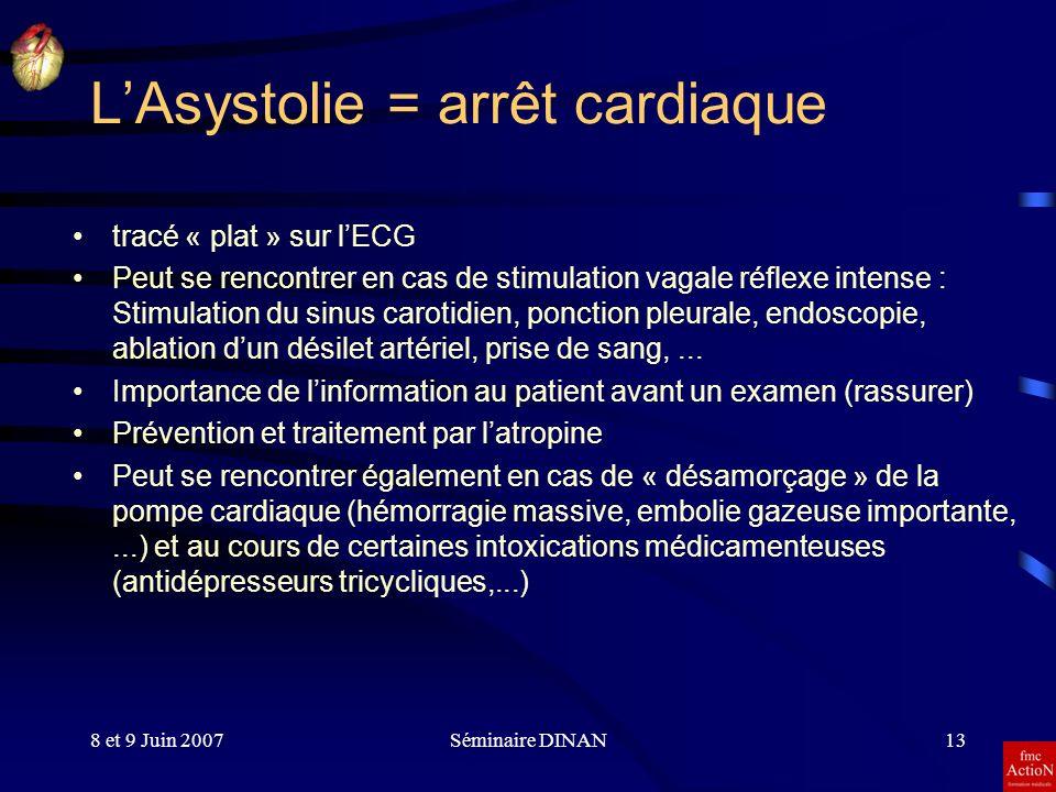 8 et 9 Juin 2007Séminaire DINAN13 LAsystolie = arrêt cardiaque tracé « plat » sur lECG Peut se rencontrer en cas de stimulation vagale réflexe intense