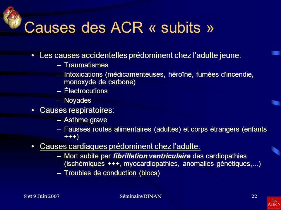 8 et 9 Juin 2007Séminaire DINAN22 Causes des ACR « subits » Les causes accidentelles prédominent chez ladulte jeune: –Traumatismes –Intoxications (méd