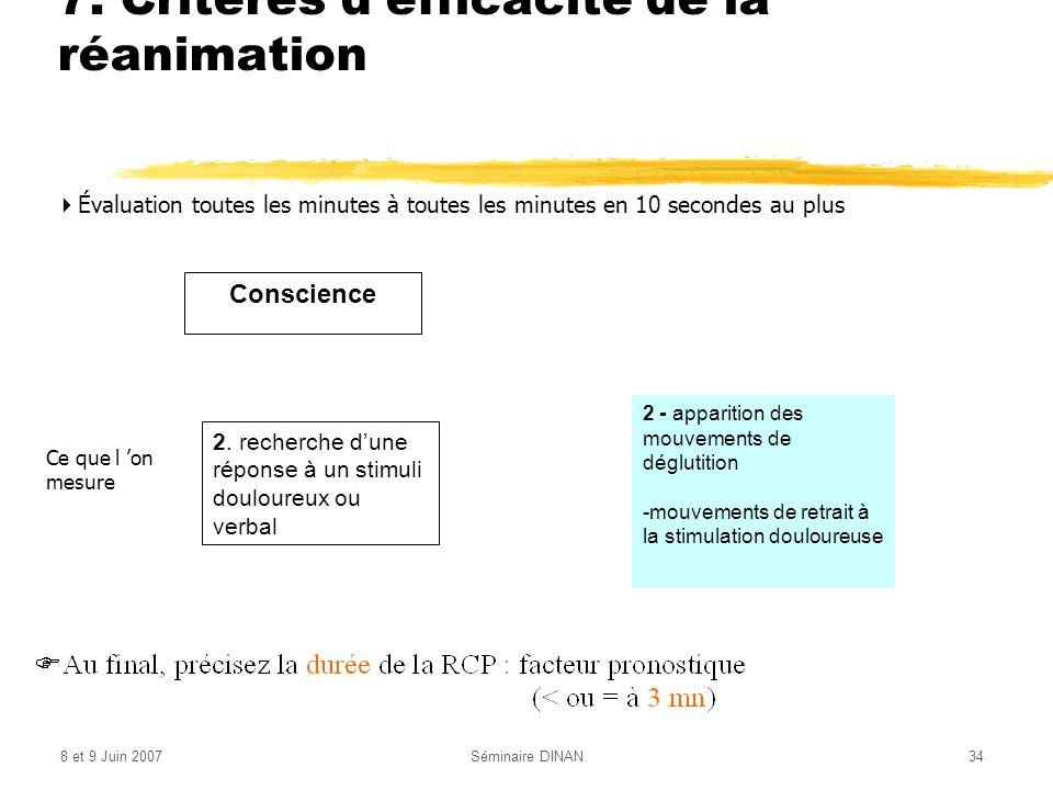 8 et 9 Juin 2007Séminaire DINAN34 7. Critères defficacité de la réanimation Évaluation toutes les minutes à toutes les minutes en 10 secondes au plus