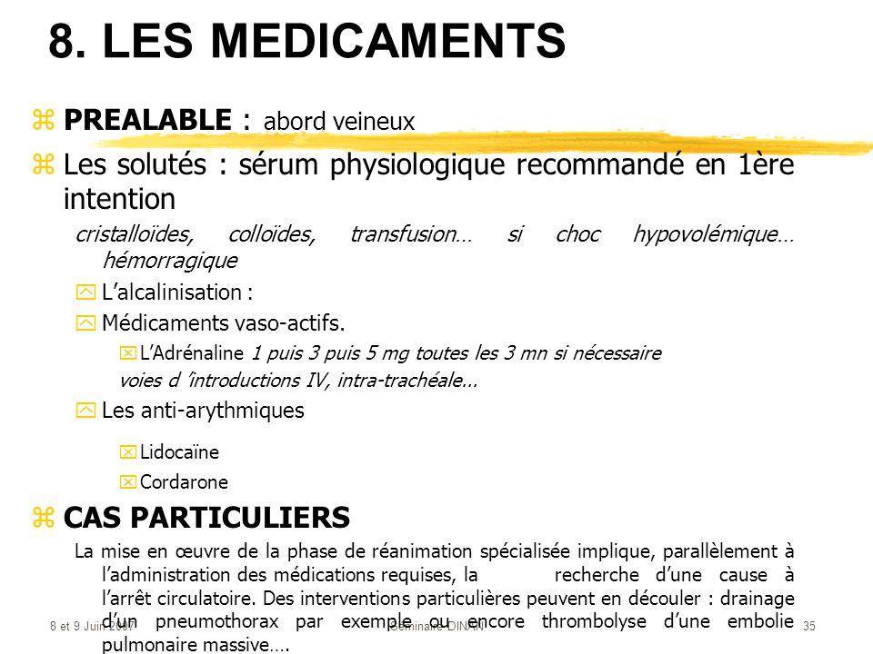 8 et 9 Juin 2007Séminaire DINAN35 8. LES MEDICAMENTS zPREALABLE : abord veineux zLes solutés : sérum physiologique recommandé en 1ère intention crista