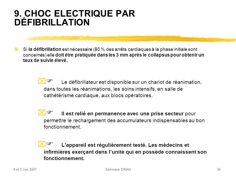 8 et 9 Juin 2007Séminaire DINAN36 9. CHOC ELECTRIQUE PAR DÉFIBRILLATION zSi la défibrillation est nécessaire (80 % des arrêts cardiaques à la phase in