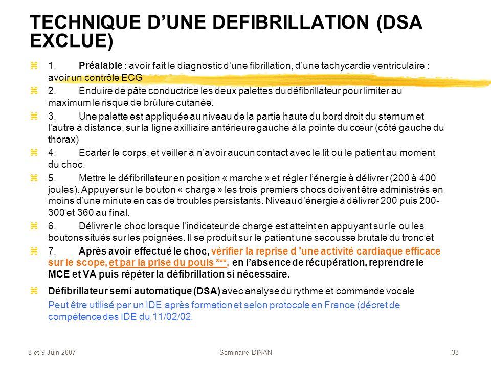 8 et 9 Juin 2007Séminaire DINAN38 TECHNIQUE DUNE DEFIBRILLATION (DSA EXCLUE) z1.Préalable : avoir fait le diagnostic dune fibrillation, dune tachycard