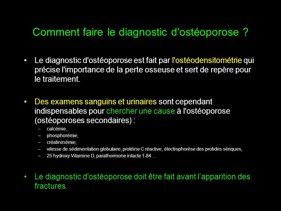 Comment faire le diagnostic d'ostéoporose ? Le diagnostic d'ostéoporose est fait par l'ostéodensitométrie qui précise l'importance de la perte osseuse