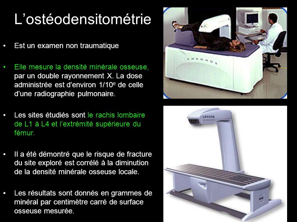 Lostéodensitométrie Est un examen non traumatique Elle mesure la densité minérale osseuse, par un double rayonnement X. La dose administrée est denvir