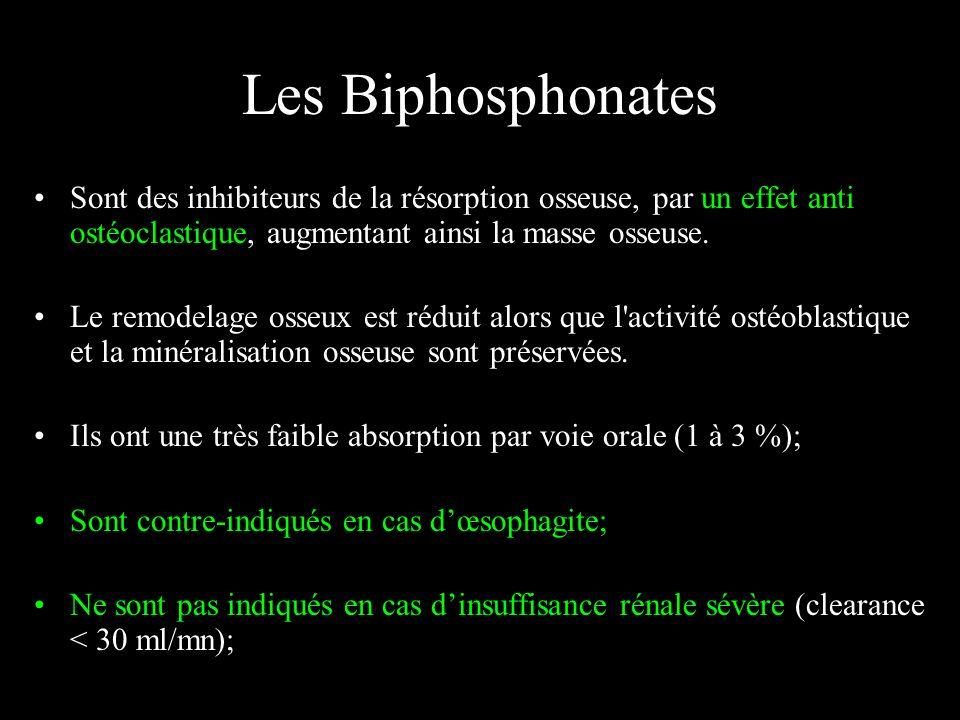 Les Biphosphonates Sont des inhibiteurs de la résorption osseuse, par un effet anti ostéoclastique, augmentant ainsi la masse osseuse. Le remodelage o