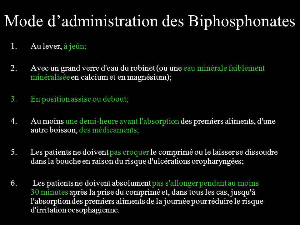 Mode dadministration des Biphosphonates 1.Au lever, à jeûn; 2.Avec un grand verre d'eau du robinet (ou une eau minérale faiblement minéralisée en calc