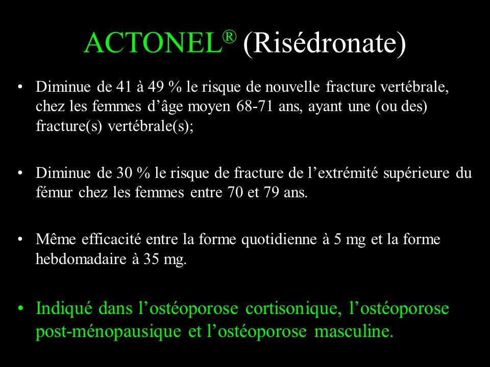 ACTONEL ® (Risédronate) Diminue de 41 à 49 % le risque de nouvelle fracture vertébrale, chez les femmes dâge moyen 68-71 ans, ayant une (ou des) fract