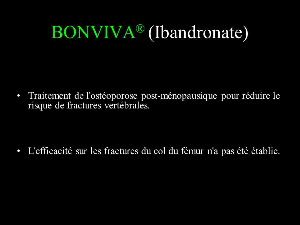 BONVIVA ® (Ibandronate) Traitement de l'ostéoporose post-ménopausique pour réduire le risque de fractures vertébrales. L'efficacité sur les fractures