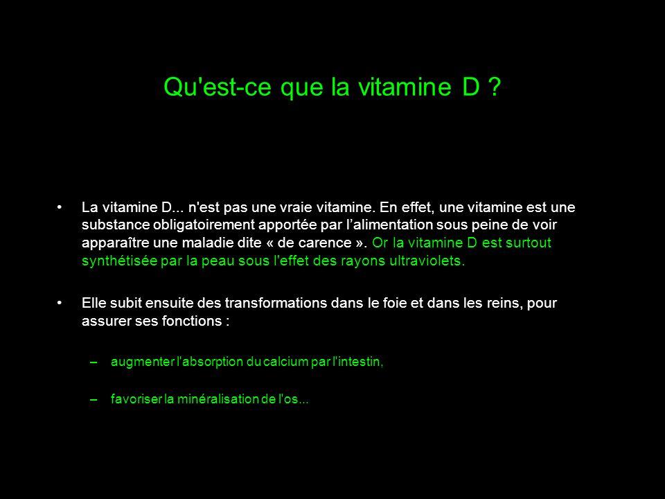 Qu'est-ce que la vitamine D ? La vitamine D... n'est pas une vraie vitamine. En effet, une vitamine est une substance obligatoirement apportée par lal