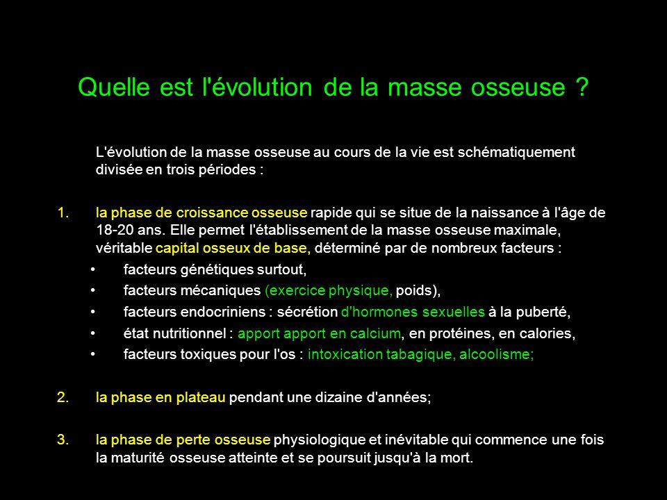 Quelle est l'évolution de la masse osseuse ? L'évolution de la masse osseuse au cours de la vie est schématiquement divisée en trois périodes : 1.la p
