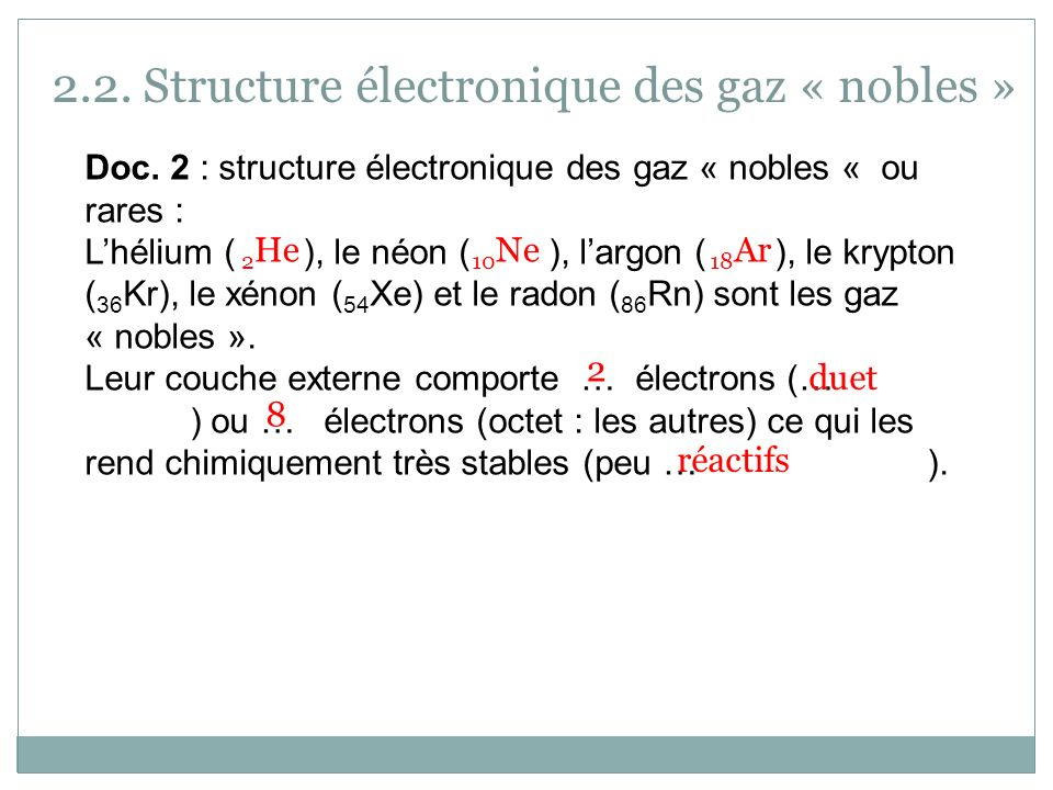 2.2. Structure électronique des gaz « nobles » Doc. 2 : structure électronique des gaz « nobles « ou rares : Lhélium ( ), le néon ( ), largon ( ), le