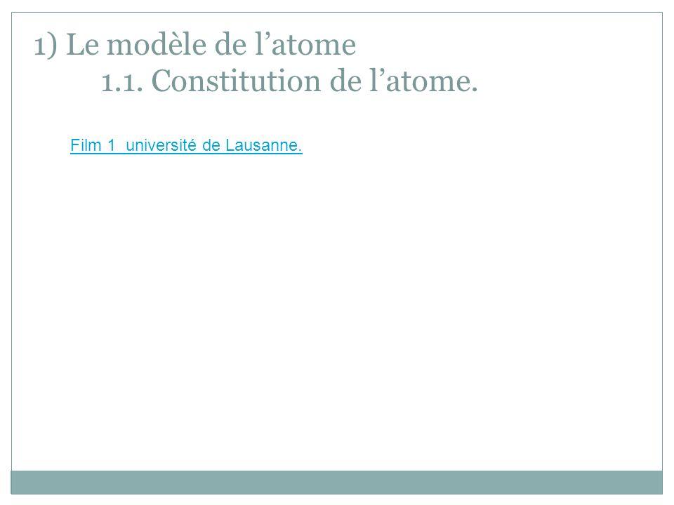 1) Le modèle de latome 1.1. Constitution de latome. Film 1 université de Lausanne.