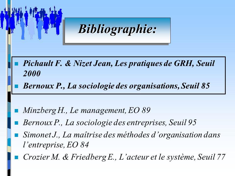 n Pichault F. & Nizet Jean, Les pratiques de GRH, Seuil 2000 n Bernoux P., La sociologie des organisations, Seuil 85 n Minzberg H., Le management, EO