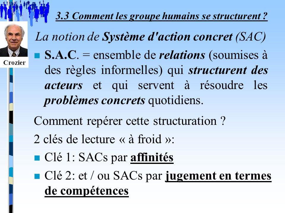 Comment repérer cette structuration ? 2 clés de lecture « à froid »: n Clé 1: SACs par affinités n Clé 2: et / ou SACs par jugement en termes de compé