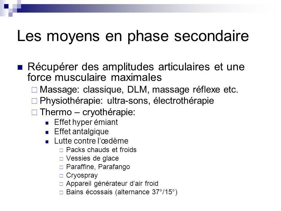 Les moyens en phase secondaire Récupérer des amplitudes articulaires et une force musculaire maximales Massage: classique, DLM, massage réflexe etc. P