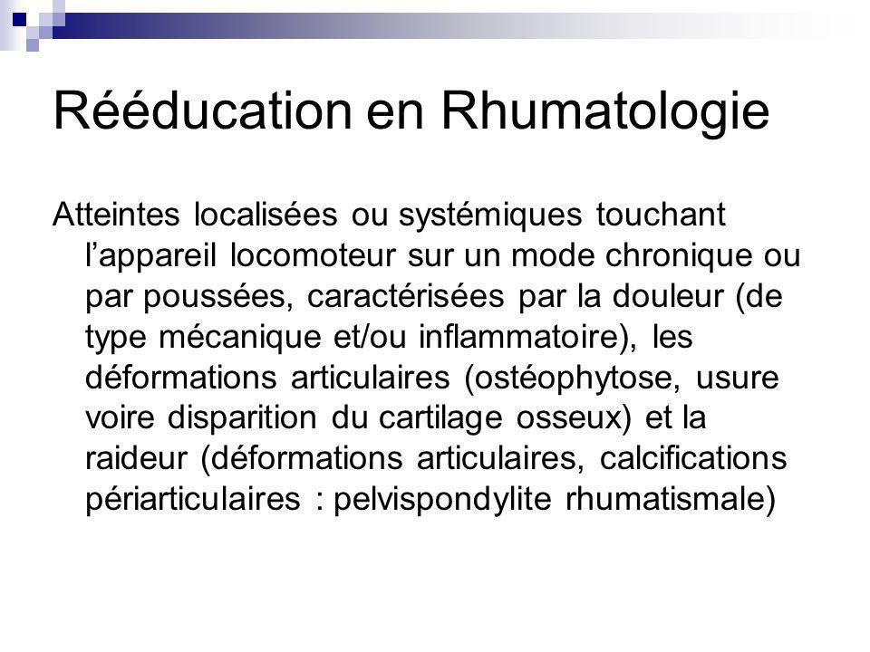 Rééducation en Rhumatologie Atteintes localisées ou systémiques touchant lappareil locomoteur sur un mode chronique ou par poussées, caractérisées par