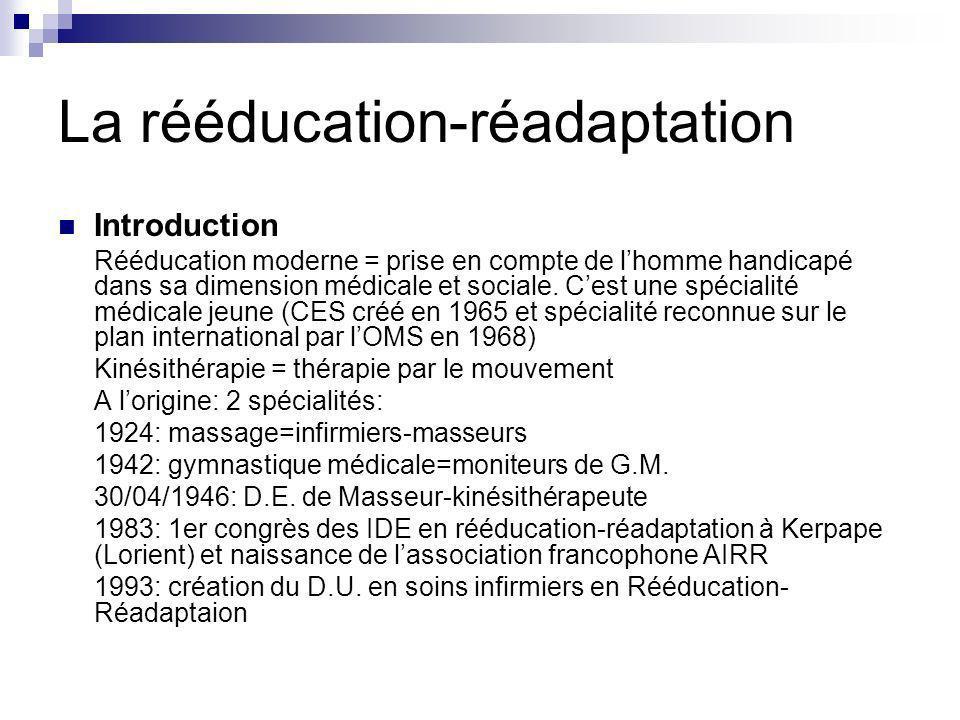 La rééducation-réadaptation Introduction Rééducation moderne = prise en compte de lhomme handicapé dans sa dimension médicale et sociale. Cest une spé