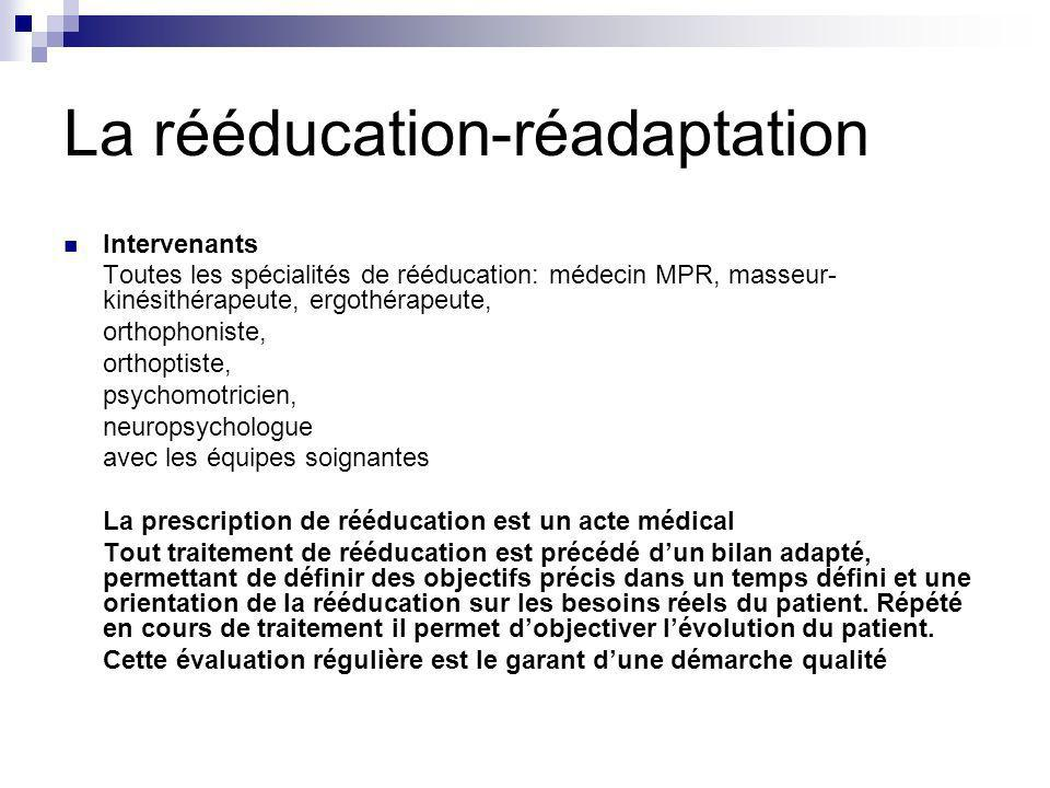 La rééducation-réadaptation Intervenants Toutes les spécialités de rééducation: médecin MPR, masseur- kinésithérapeute, ergothérapeute, orthophoniste,