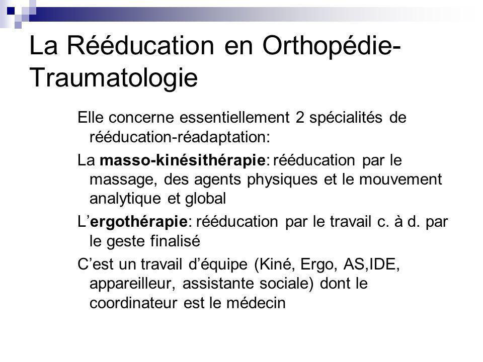 La Rééducation en Orthopédie- Traumatologie Elle concerne essentiellement 2 spécialités de rééducation-réadaptation: La masso-kinésithérapie: rééducat