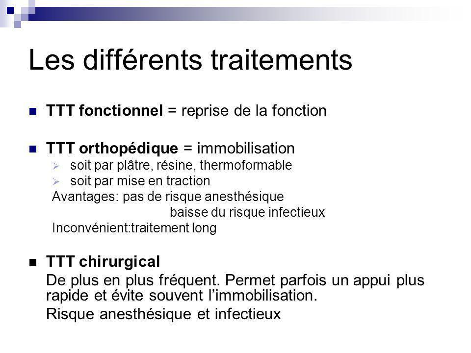 Les différents traitements TTT fonctionnel = reprise de la fonction TTT orthopédique = immobilisation soit par plâtre, résine, thermoformable soit par