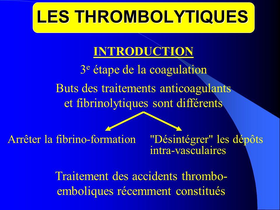 LES THROMBOLYTIQUES INTRODUCTION 3 e étape de la coagulation Buts des traitements anticoagulants et fibrinolytiques sont différents Arrêter la fibrino