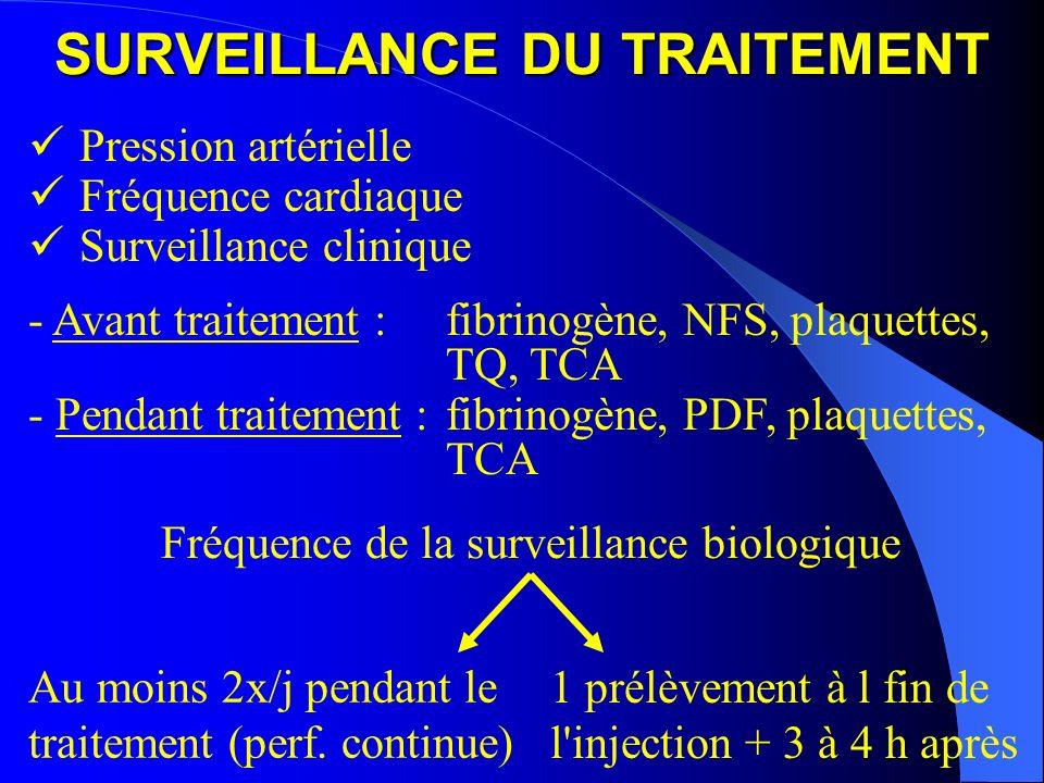 SURVEILLANCE DU TRAITEMENT Pression artérielle Fréquence cardiaque Surveillance clinique - Avant traitement : fibrinogène, NFS, plaquettes, TQ, TCA -