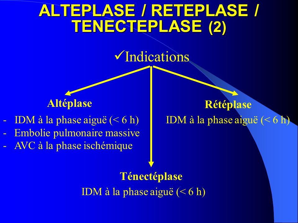 ALTEPLASE / RETEPLASE / TENECTEPLASE (2) Indications - IDM à la phase aiguë (< 6 h) -Embolie pulmonaire massive -AVC à la phase ischémique IDM à la ph