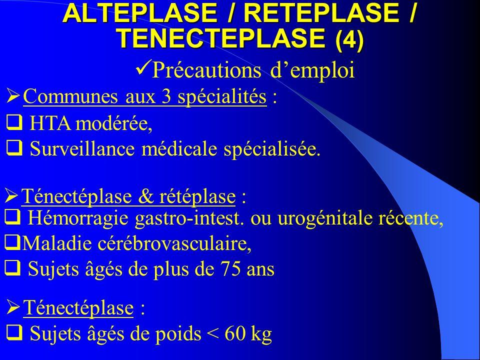 Hémorragie gastro-intest. ou urogénitale récente, Maladie cérébrovasculaire, Sujets âgés de plus de 75 ans ALTEPLASE / RETEPLASE / TENECTEPLASE (4) Pr