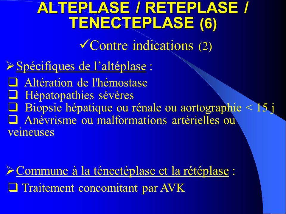 ALTEPLASE / RETEPLASE / TENECTEPLASE (6) Contre indications (2) Altération de l'hémostase Hépatopathies sévères Biopsie hépatique ou rénale ou aortogr