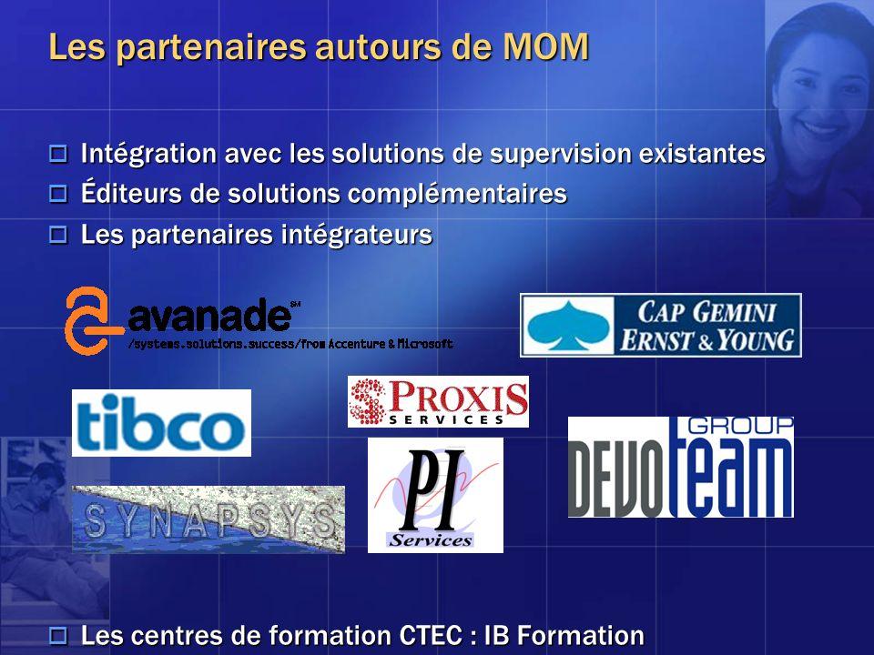 Les partenaires autours de MOM Intégration avec les solutions de supervision existantes Intégration avec les solutions de supervision existantes Édite