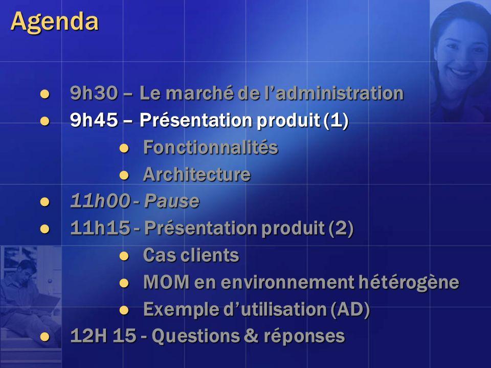 Agenda 9h30 – Le marché de ladministration 9h30 – Le marché de ladministration 9h45 – Présentation produit (1) 9h45 – Présentation produit (1) Fonctio