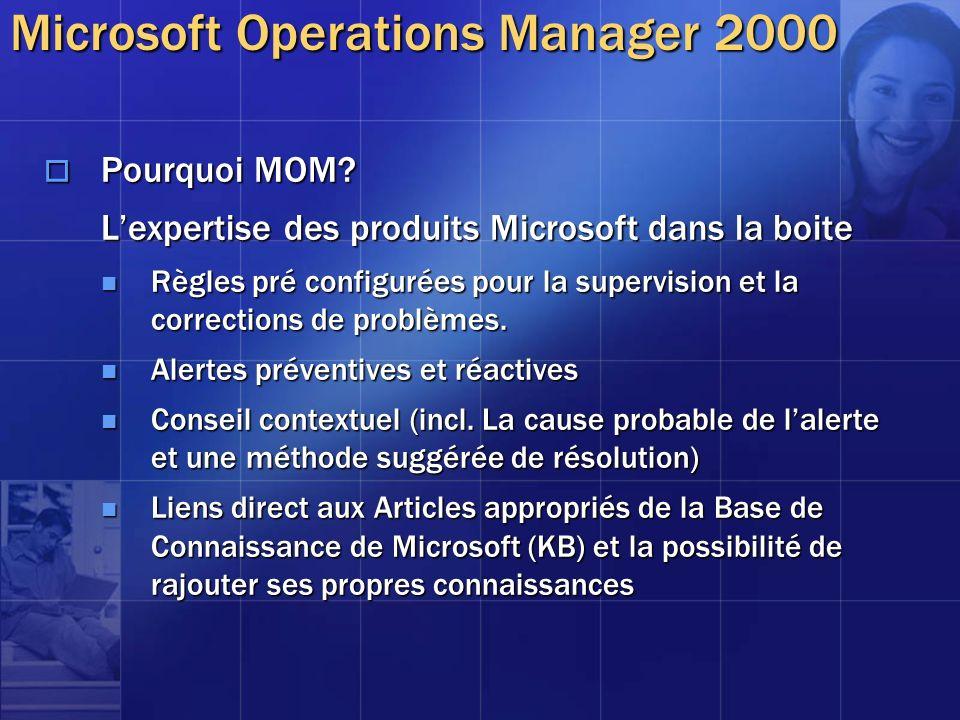 Pourquoi MOM? Pourquoi MOM? Lexpertise des produits Microsoft dans la boite Règles pré configurées pour la supervision et la corrections de problèmes.
